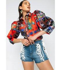 akira fiery fiesta puff sleeve blouse