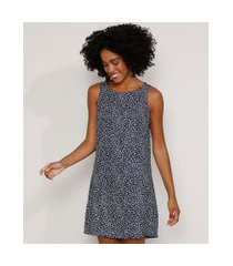 vestido feminino curto amplo estampado animal print onça sem manga azul marinho