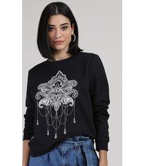 blusão de moletom feminino arabescos preto