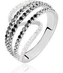 anello in oro bianco e diamanti bianchi e neri 0,12/0,69 ct per donna