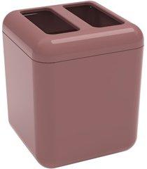 porta escova cube 10,5x8,5cm rosa malva