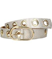 cinturón cuero distintas texturas dorado