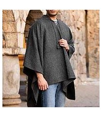 men's alpaca blend hooded poncho, 'highlands grey' (peru)