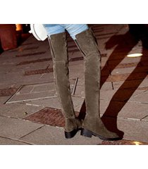 pp196 stylistic over-knee boots w stretch top, zip side us size 4-9, khaki