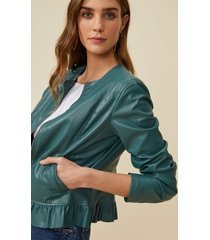 amaro feminino jaqueta leather babado barra, verde escuro