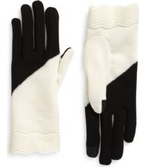 seymoure knit wool gloves, size x-small in black and white at nordstrom