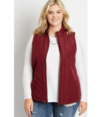 maurices plus size womens berry zip up vest red