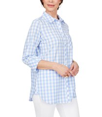 women's foxcroft germaine gingham cotton blouse, size 16 - blue
