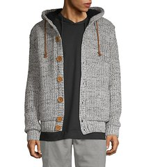 waffle-knit button-front hooded cardigan