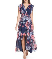 petite women's eliza j floral high/low faux wrap chiffon dress, size 14p - blue