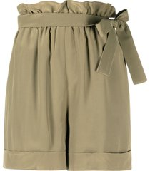 federica tosi belted pleated shorts - green
