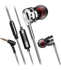 audifonos alta fidelidad 3.5mm qyz dm9 microfono plateado