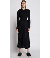 proenza schouler silk cashmere pleated dress black l