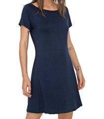vestido fiveblu curto liso azul-marinho