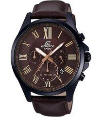 reloj casio efv_500bl_1av marrón cuero