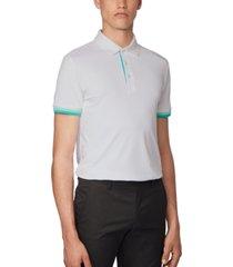 boss men's paule 6 white polo shirt