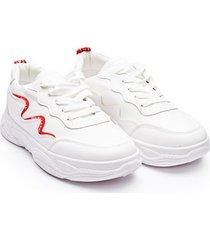 tenis lineas curvas rojas color blanco, talla 39