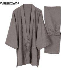 hombres kimono pijamasalgodón establece baño oriental yata vestido