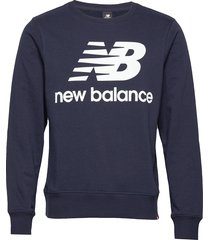 essentials stacked logo crew sweat-shirt tröja blå new balance