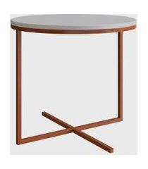 mesa redonda volpi media branco/cobre artesano
