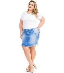 saia confidencial extra plus size jeans com elastano feminina