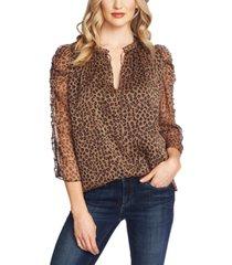 cece petite leopard-print sheer-sleeve top