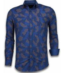 italiaanse overhemden - slim fit overhemd - blouse dotted camouflage pattern