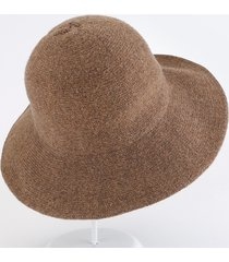 donna pieghevole inverno caldo soft elegante berretto in lana lavorato a maglia cappello a secchiello per il tempo libero