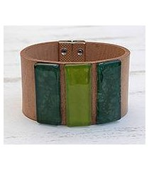 glass and leather wristband bracelet, 'green skylights' (brazil)