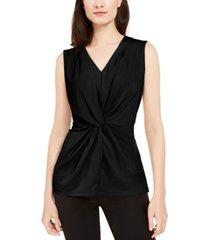 alfani twist-front sleeveless top, created for macy's