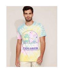 camiseta masculina ursinhos carinhosos estampada tie dye manga curta gola careca multicor