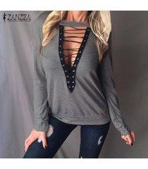zanzea de mujeres gargantilla v profundo ata para arriba el suéter del puente de la blusa casual tapas de la camisa más el tamaño -gris
