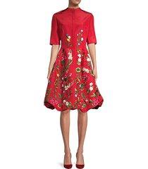 botanical embroidery poufed silk flare dress