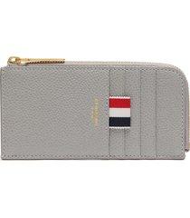 tricolour tab grain half zip around leather wallet