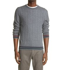 men's canali cable wool crewneck sweater, size 48 us - grey