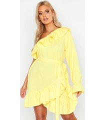 plus jurk met ruches, ceintuur en open schouders, geel