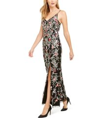 adrianna papell beaded floral gown