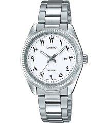 reloj analógico mujer casio ltp-1302d7b3 - plateado con blanco
