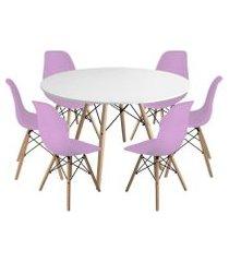 kit mesa jantar eiffel 120cm branca + 6 cadeiras charles eames - rosa