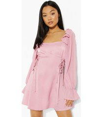 petite mini jurk met veters en pofmouwen, rose