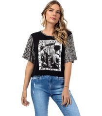 camiseta feminina manga onã§a preto - preto - feminino - dafiti