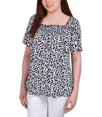petite smocked front short sleeve square neck crepe top