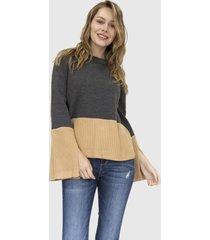 sweater mangas bicolor danielle gris racaventura