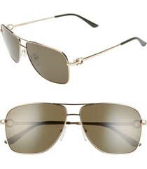men's salvatore ferragamo gancio 61mm aviator sunglasses - shiny yellow gold