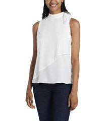 women's front overlay tie neck blouse