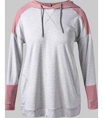 plus size two tone tunic hoodie