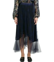 chloé ankle-length lace womens skirt with belt