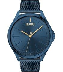 hugo men's #smash blue stainless steel mesh bracelet watch 43mm