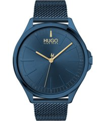 hugo men's #smash blue stainless steel mesh bracelet watch 43mm