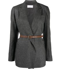 fabiana filippi long sleeve belted blazer - grey